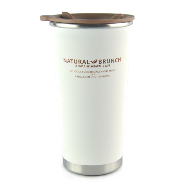 Stainless Steel Double Wall Heat Insulated Cup - White