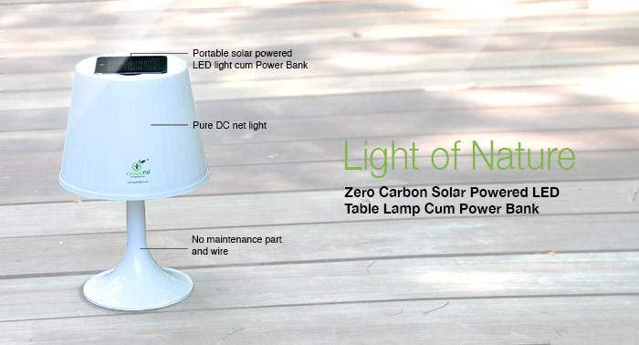 Zero Carbon Solar Powered Desktop Lamp Cum Power Bank