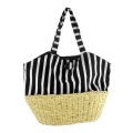 Canvas with Corn Husk Straw Base Tote Bag